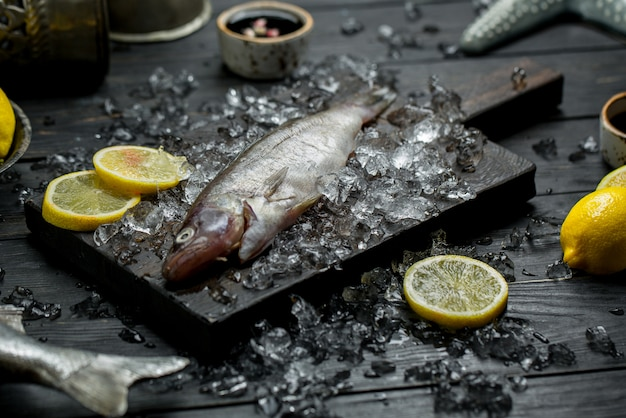 Fresh raw fish with lemon slices and minced ice cubes. Free Photo