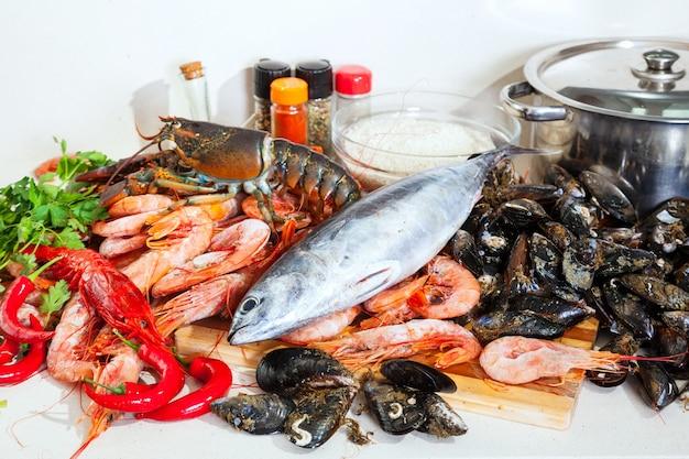 Fresh raw marine products Free Photo