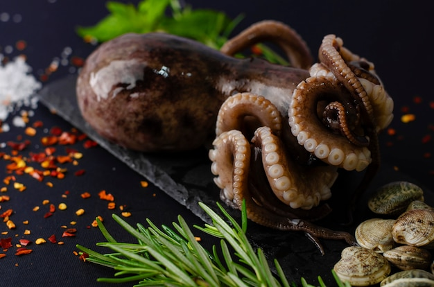 Fresh raw octopus with clams and ingredients for cooking on black slate board on dark background Premium Photo