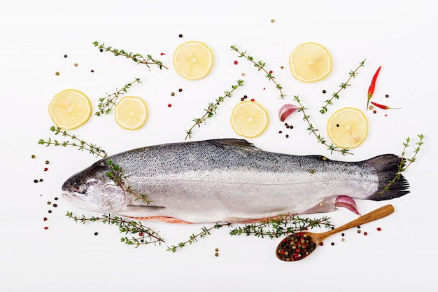 Fresh raw salmon red fish  isolated on a white table. flat lay. top view Premium Photo