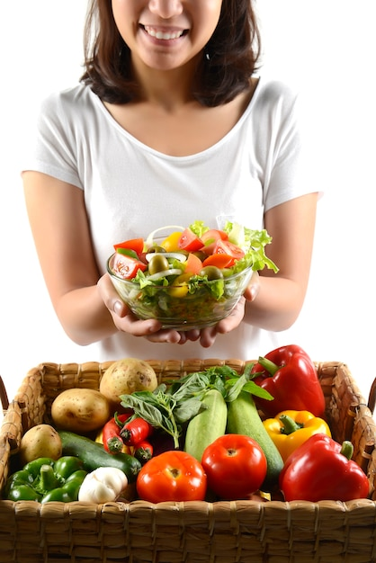 Fresh raw vegetables salad for healthy on white background. Premium Photo