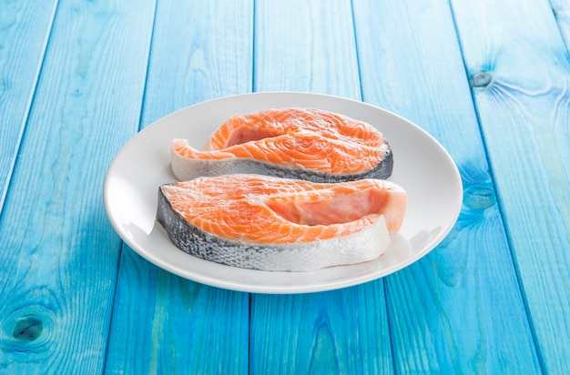 Fresh salmon fish steak Premium Photo