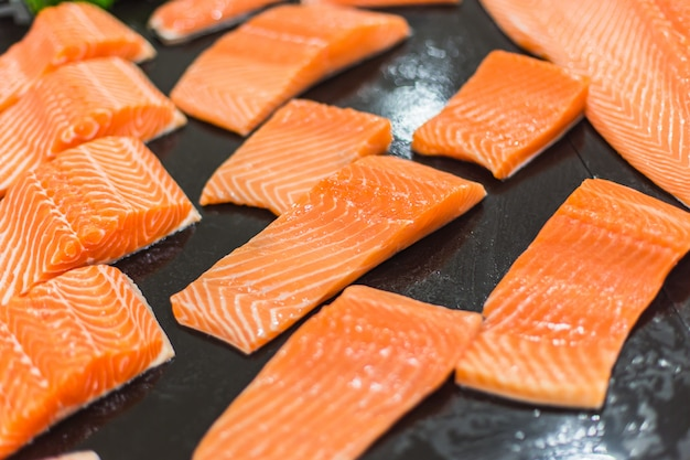 Fresh salmon slice in market Premium Photo
