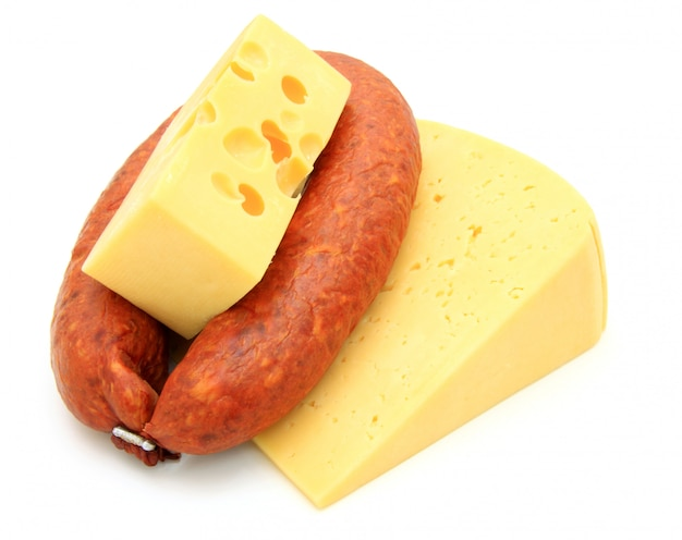 Fresh sausage with cheese Premium Photo