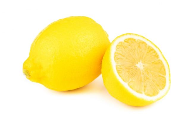 Fresh slice lemon with  vitamin c  from natural isolated on white background Premium Photo