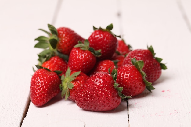 Fresh strawberry on a white table Free Photo