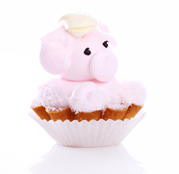 Fresh and tasty cake in the shape of pig Free Photo