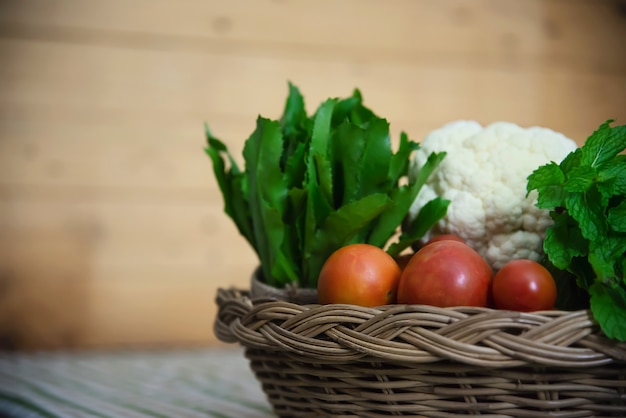 Fresh variety vegetable basket ready to be cooked in the kitchen Free Photo
