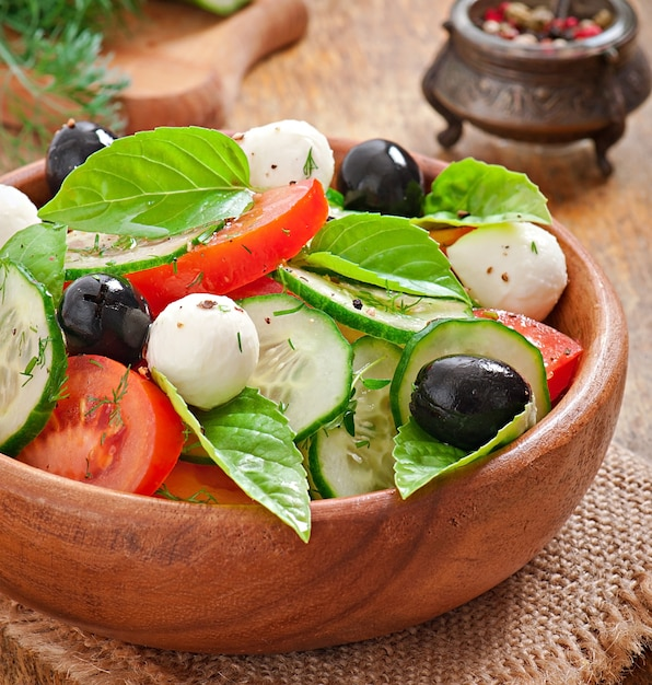 Fresh vegetable greek salad, close up Free Photo