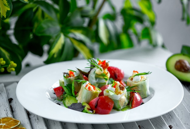 Fresh vegetable salad in the plate Free Photo