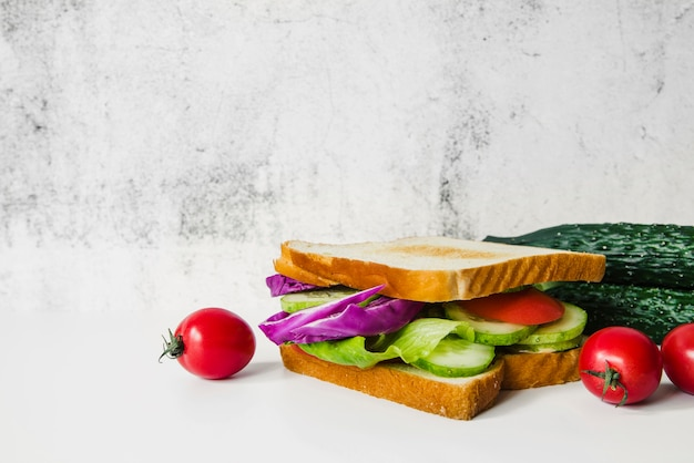 Fresh vegetable sandwich on white background Free Photo