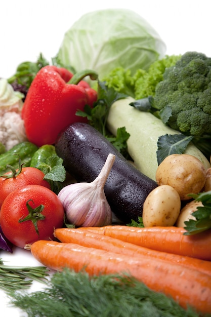 Fresh vegetables fruit on white Premium Photo