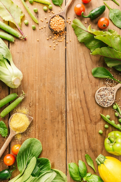 Fresh vegetables placed on wooden table Free Photo