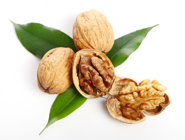 Fresh walnut with leaves Free Photo