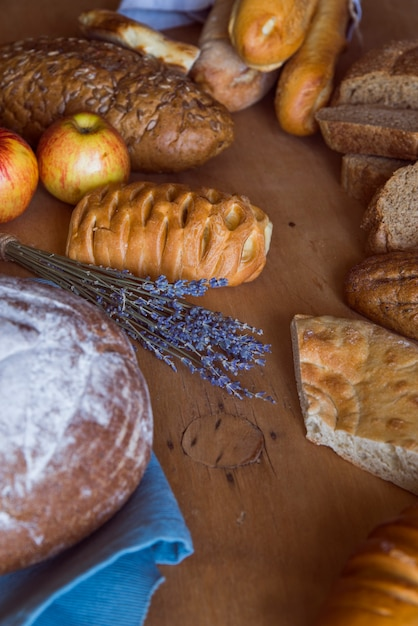 Freshly made bread assortment high angle Free Photo