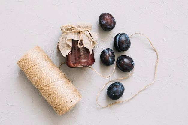 Freshly made plum jam on white Free Photo
