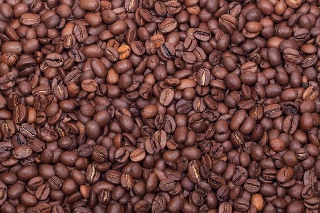 焼きたてのコーヒー豆の背景 Premium写真