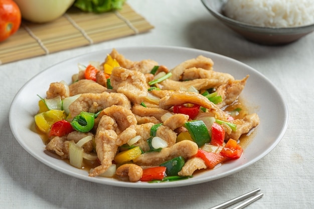 Fried chicken with cashew nuts thai food. Free Photo