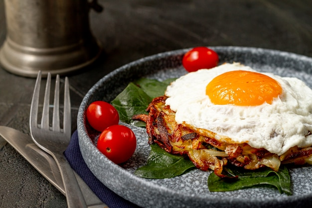 Fried egg with tomatoes and hash browns Free Photo