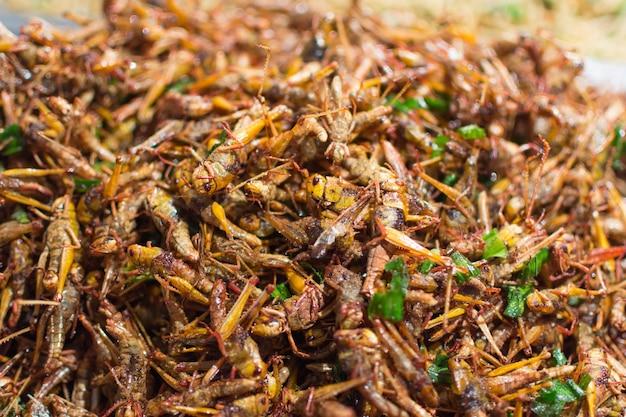 揚げ昆虫の様々な種類は、食品はタイの通りの食品市場で見つけるのは簡単です Premium写真