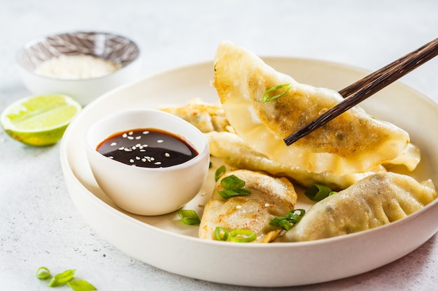 Fried korean dumplings with green onion and sauce on white plate. Premium Photo