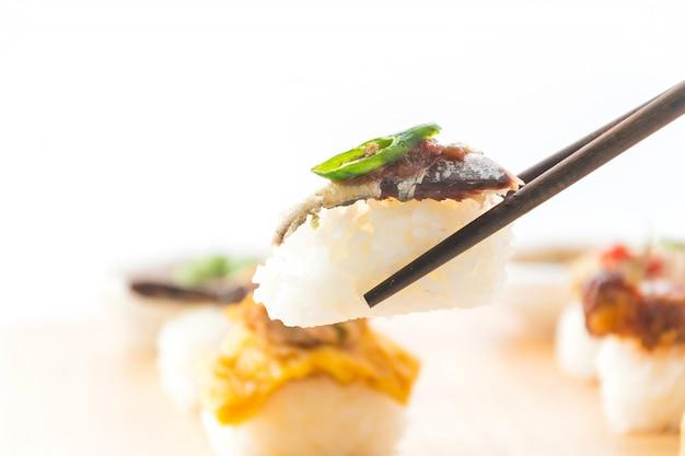 Fried Mackerel With Shrimp Paste Sauce Sushi Photo Free