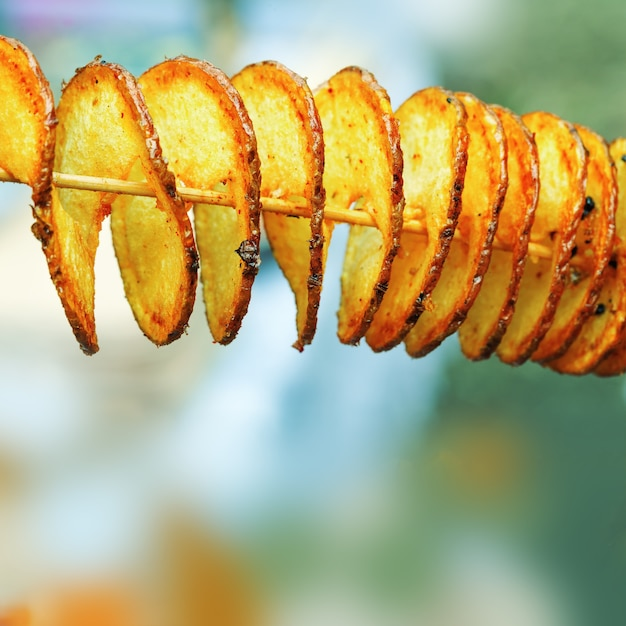 Fried potatoes in form of spiral Premium Photo