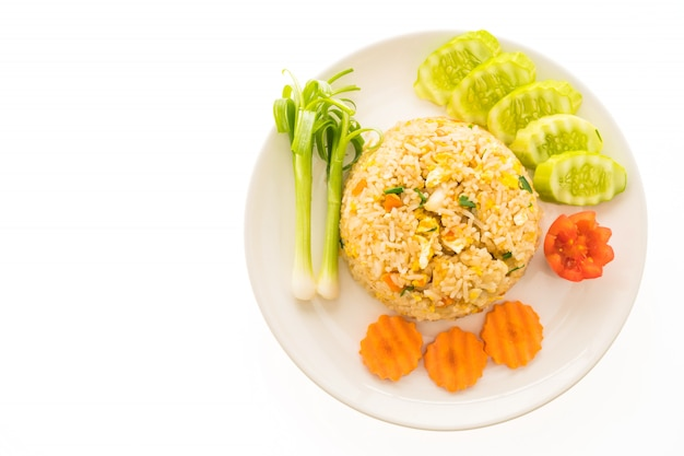Fried rice with crab meat in white plate Free Photo