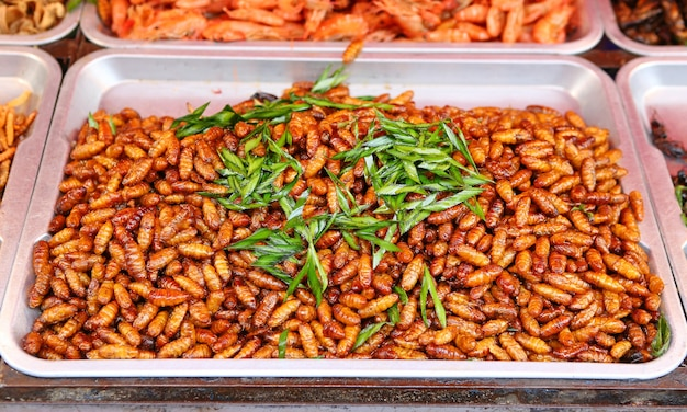 Fried silk worm Premium Photo