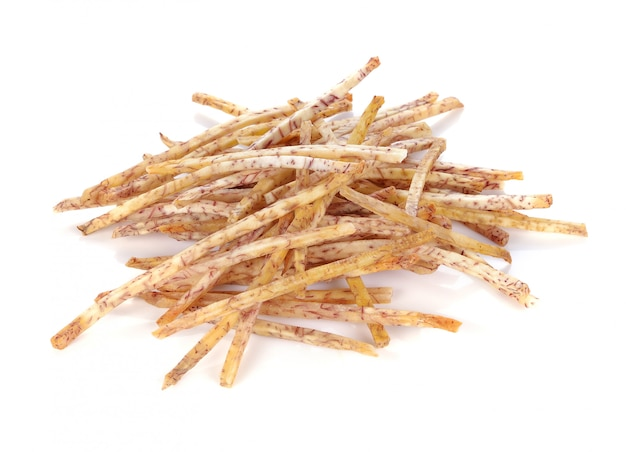 Fried taro chips, taro snacks Premium Photo