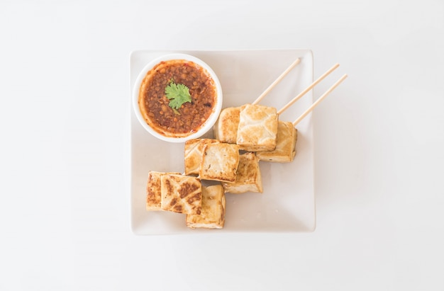 Fried tofu - healthy food Free Photo