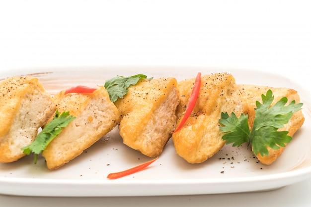Fried tofu - vegan food Premium Photo