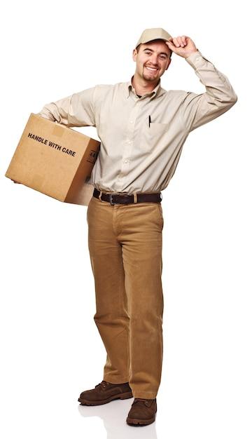 Дружелюбный доставщик, изолированные на белом фоне Premium Фотографии