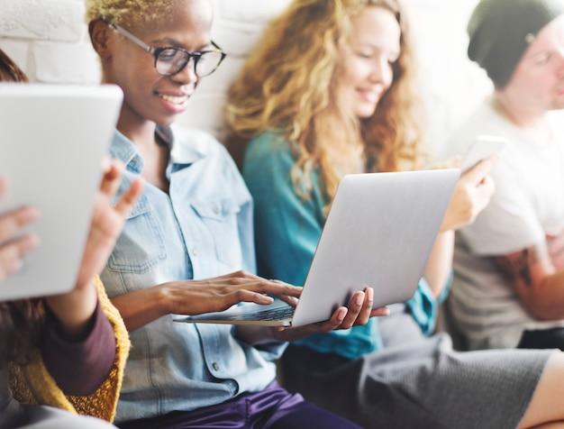Friends connection digital devices technology network concept Premium Photo