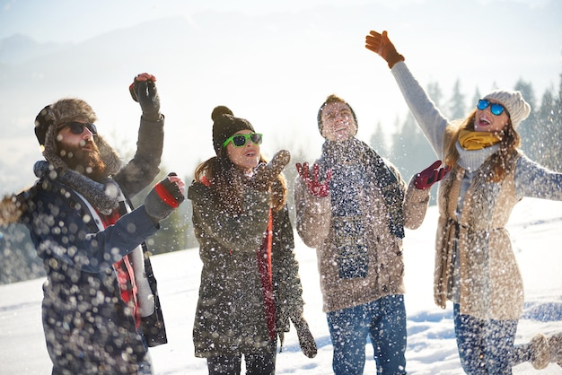 Friends covered with fresh snow Free Photo