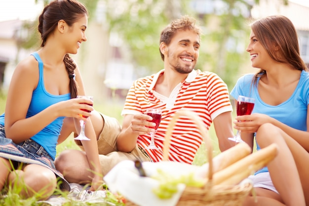 Friends enjoying picnic in countryside Photo | Free Download
