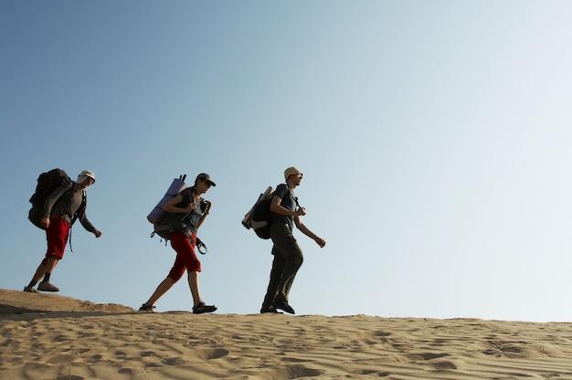 Друзья поднимаются по холму в гору Premium Фотографии
