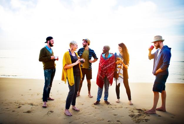 Friends having a beach party Premium Photo