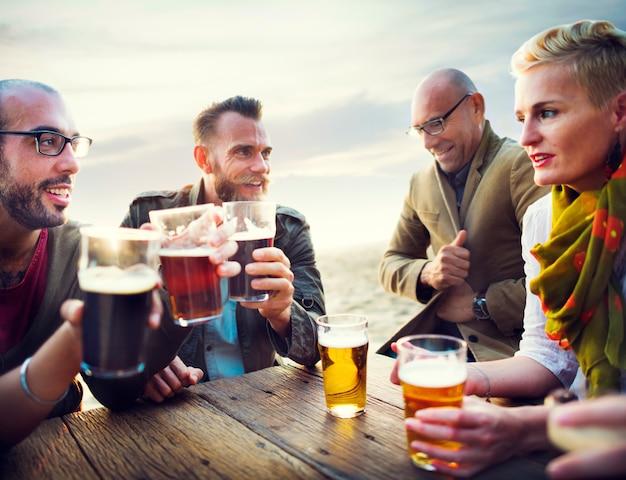 Friends having beers Free Photo