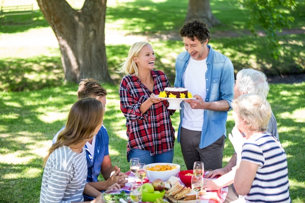 Friends having a picnic with cake Premium Photo