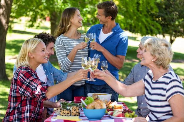 Friends having a picnic with wine Premium Photo