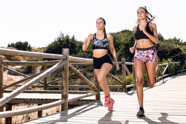 Friends jogging together on pier Free Photo
