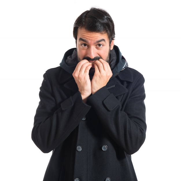 Frightened man over white background Photo | Free Download