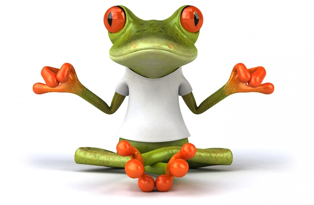 Frog with a white t-shirt 3d illustration Premium Photo