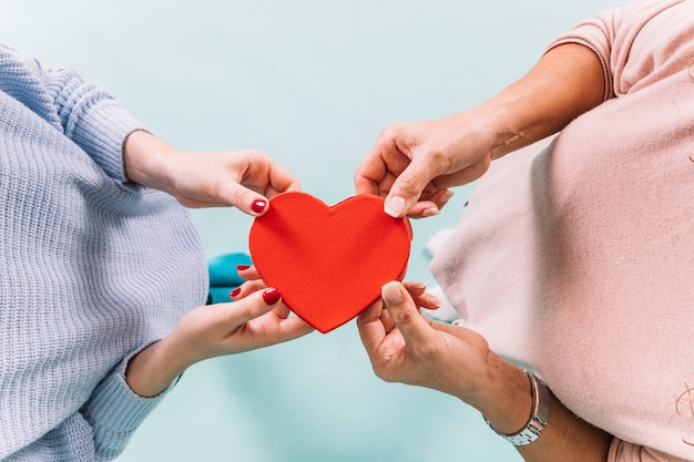 From above women holding heart Free Photo