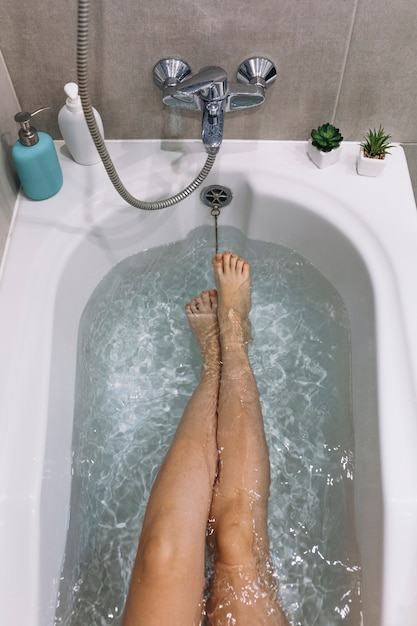 From above legs in bathtub Free Photo