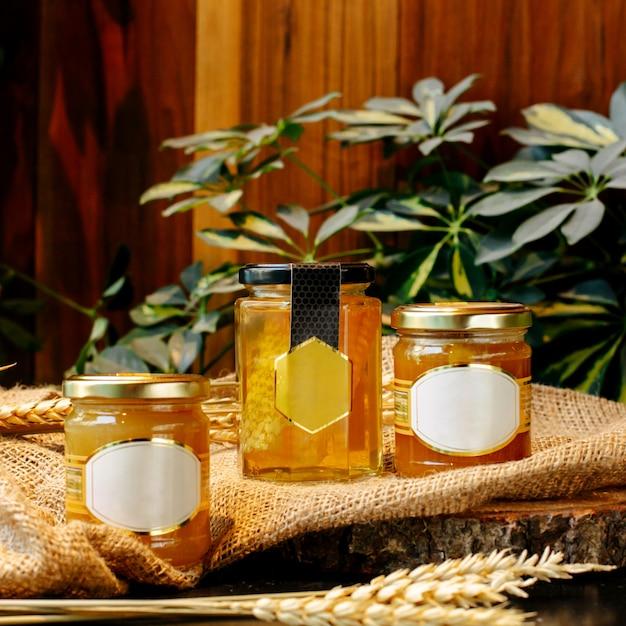 Передний угол мёда в стеклянных банках Бесплатные Фотографии