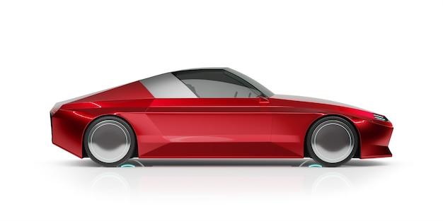 흰색 배경에 고립 된 일반 빨간색 Brandless Ev 자동차의 전면 각도보기. 내 자신의 창의적인 디자인으로 3d 렌더링. 프리미엄 사진