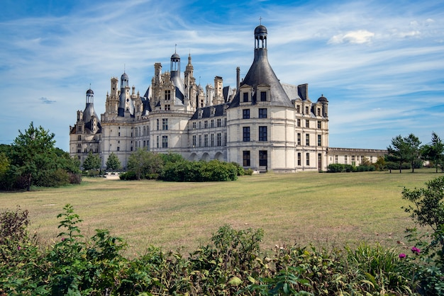 Front and side face of chambord castle in france Premium Photo