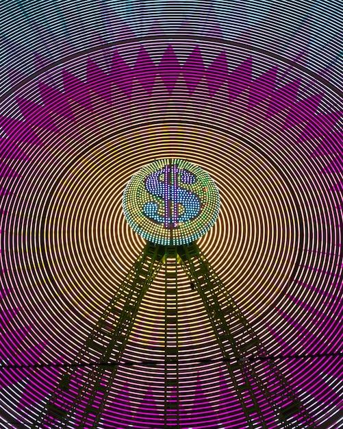 Абстрактный вид спереди неоновый свет колеса чудо и знак доллара Бесплатные Фотографии